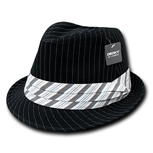 DECKY Pinstriped Fedora Hat, Black White, Small/Medium