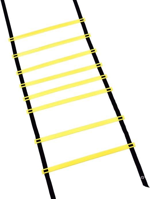 Escalera de fútbol, balón de fútbol de 4 m Flexibilidad de fútbol Entrenamiento de velocidad Escalera de salto de fitness para entrenamiento de alta intensidad Boxeo, fútbol, fútbol, lacrosse, h: Amazon.es: Hogar