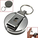 Stainless Steel Tool Belt Money Retractable Key Ring Pull Chain Clip.