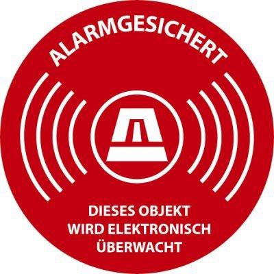 Aufkleber Alarmgesichert 5cm (Rund) ausgeschildert24