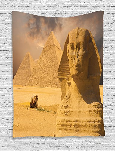 Ambesonne Egyptian Tapestry, The Great Sphinx Face with Other Pyramids in Egypt Old Historical Monument, Wall Hanging for Bedroom Living Room Dorm, 60 W X 80 L Inches, Amber Brown