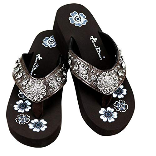 (Montana West Flip Flop Sandals Hand Beaded Embroidered Studded (9B(M), Cf Pink Concho))