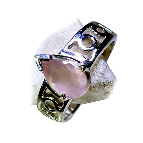 Jewelryonclick Prong Setting Real Rose Quartz Ring Silver Band Pink Pear Shape Available in Size 4-12 by Jewelryonclick (Image #3)