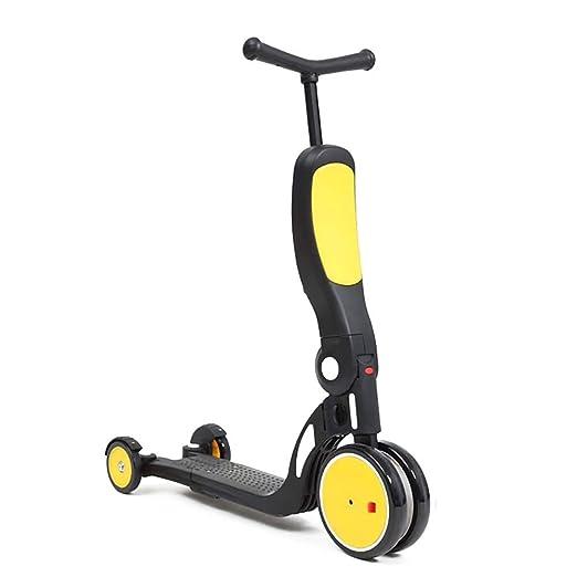 ETTBC Patinetes Amarillo 5 en 1 para niños, Triciclo de ...
