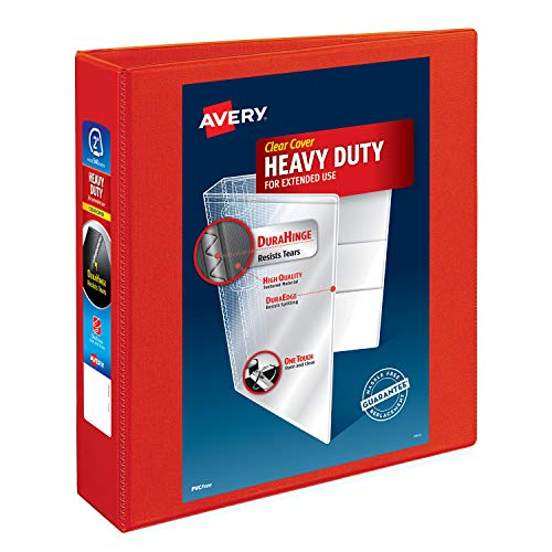 - Avery Heavy Duty View Binders with One Touch EZD(TM) Ring, Holds 8-1/2 Inch x 11 Inch Paper, 2 Inch Ring, Red (79225)