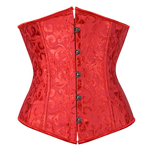 (Zhitunemi Women's Lace Up Boned Jacquard Brocade Waist Training Underbust Corset Small Red)