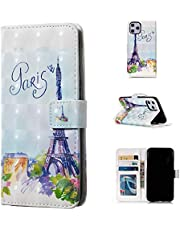 Glitter Wallet Case for iPhone 12 Pro and Screen Protector,QFFUN Bling 3D Pattern Design [Tower] Magnetic Stand Leather Phone Case with Card Holder Drop Protection Etui Bumper Flip Cover