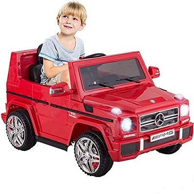 SuperGift.com Childrens Ride On Mercedes G55 12V AMG Red Car G Wagon Electric Kids