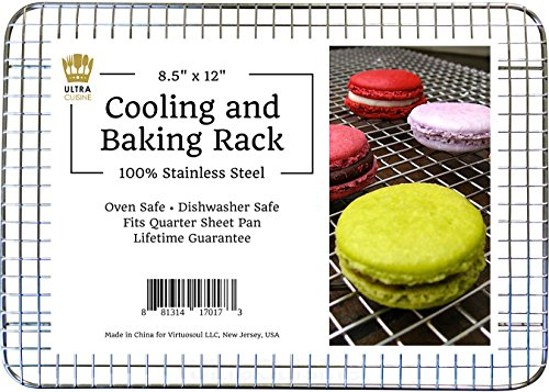 Ultra Cuisine 100% Stainless Steel Wire Cooling Rack fits Quarter Sheet Size Baking Pan, Heavy Duty, Commercial Quality, Oven Safe for Roasting Cooking Grilling (8.5