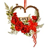 National Tree 12 Inch Wooden Heart Wreath with Red Roses and ''Love'' Sign (RAV-A030151A)