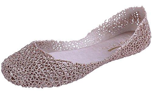 Flat Glaze - Glaze Women's Round Toe Slip On Jelly Ballet Flat (10 B(M) US, Champagne)