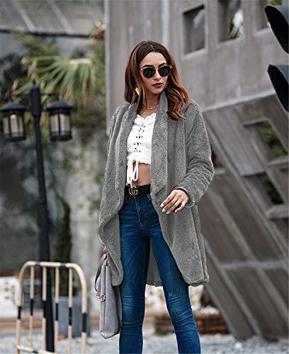 Chaud En Et Vrac Hiver Pour Dessus Gxycp brown Manteau Cardigan Femme Automne Mi Gray xl longueur g1YRqHn