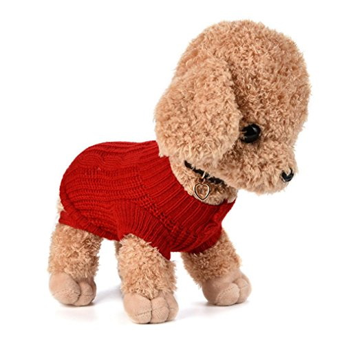 Howstar Pet Sweater, Knitted Puppy Shirt Warm Dog Clothes Cute Apparel for Small Dog (S, Red)
