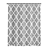White and Grey Curtains ToHa Grey White Shower Curtain Kit with Hooks, Made of Machine Washable Mildew Resistant Waterproof Polyester Fabric, Classic Geometric Patterned, 72x72 Inch, Gray