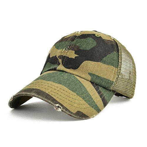 VOBOOM Mens Vintage Washed Adjustable Mesh Trucker Baseball Cap Hat BQ020
