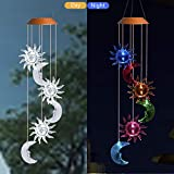 Asbana Solar Powered Wind Spinner Light, 3 Suns and 3 Moons with 7 Colors Changing Wind Light, Waterproof Hanging Wind Chime Lamp Mobile Suspended Light for Home Outdoor Garden Lighting Decor