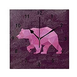OMWEED Grizzly Bear Wall Clock for Kitchen Bedroom Bathroom Living Room Classroom