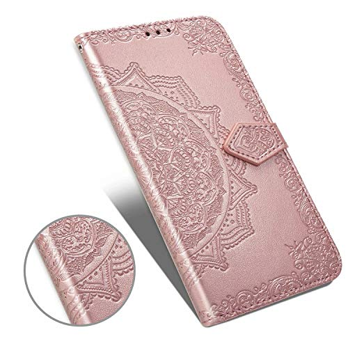 ARSUE Galaxy M10 Wallet Case,Case for Samsung Galaxy M10 Henna Mandala Floral Flower PU Leather Flip Folio Phone Cover w/Kickstand Credit Card Slot Holder Side Pocket Magnetic Closure,Rose Gold