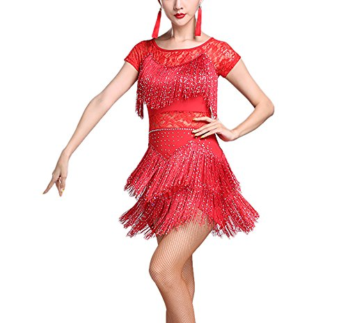 Fringe Jazz Dance Performance Competition Fancy Costume Uniforms Dress Halloween -
