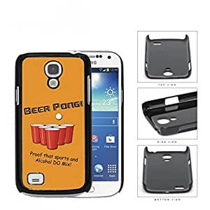 BEER PONG Funny Retro Postcard Orange Background [Samsung i9190 Galaxy S4] (MINI) Hard Snap on Plastic Cell Phone Cover
