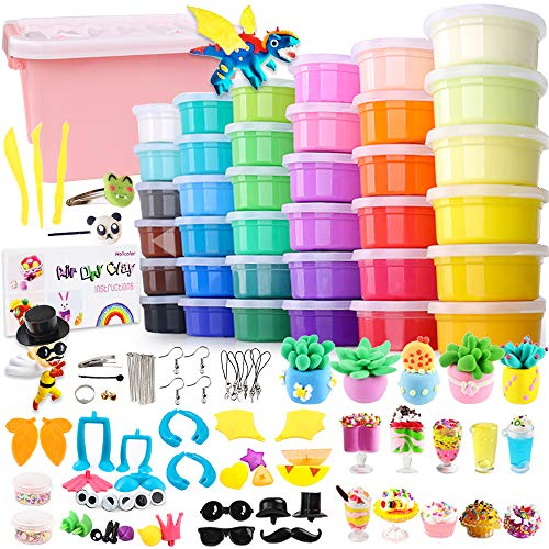 HOLICOLOR 36 Colors Air Dry Clay Kit Magic Modeling Clay Ultra-Light Clay with Accessories, Tools and Tutorials for Kids DIY -
