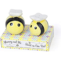 2set Wedding Favors Ceramic Mommy and Me Bee Salt and Pepper Shakers
