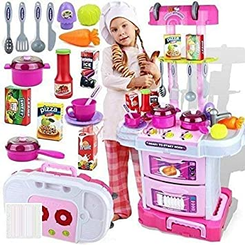 Buy Dharti Enterprise Little Chef Kids Kitchen Play Set With Light Sound Cooking Kitchen Set Play Toy 3 In 1 Online At Low Prices In India Amazon In