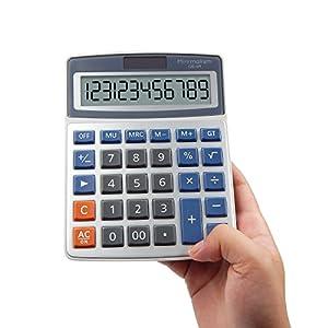 OFFIDIX Desk Calculators Office Desktop Calculator,Solar and Battery Dual Power Electronic Calculator Portable 12 Digit Large LCD Display Calculator Handheld Calculator (Light Blue)