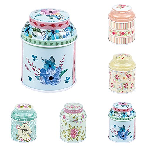 dezirZJjx Tea Container, Premium Tinplate Caddy Box Vintage Flowers Cylinder Round Tea Tins for Home Kitchen Storage Containers Colorful Tins- MT-03 by dezirZJjx (Image #3)