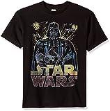 Star Wars Big Boys' Darth Vader Ancient Threat Logo Graphic Tee, Black, YL