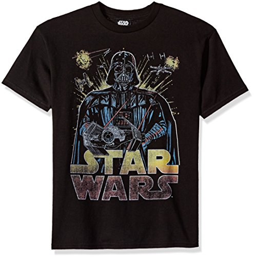 Price comparison product image Star Wars Big Boys' Darth Vader Ancient Threat Logo Graphic Tee, Black, YM