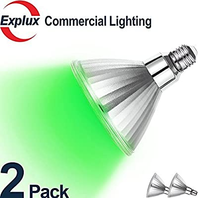 Explux Dimmable Green Color PAR38 LED Flood Light Bulbs, Classic Full-Glass, Indoor/Outdoor, 10W (120W Equivalent), 2-Pack