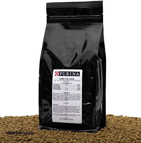 2 lbs. Purina Mills Game Fish Chow, A 32% Protein, Extruded Multi-Particle Size Floating Diet For Bass, Bluegill, Catfish, Minnows, Carp, And Other Fish That Normally Populate (Pond Large Pellet)
