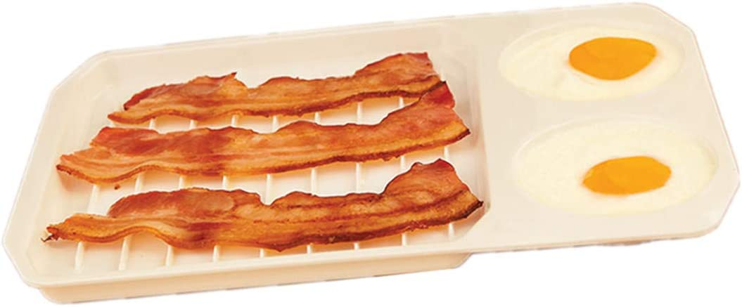 Summerdaisy 2-in-1 Microwave Bacon and Egg Cooker Microwave Egg Cooker Bacon Tray Microwavable Plates Bacon Crisper