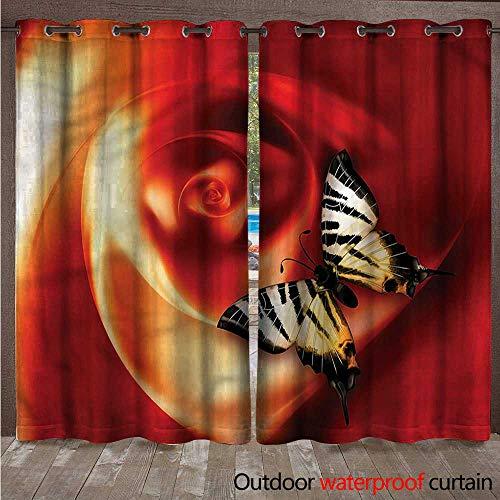 cobeDecor Butterflies Home Patio Outdoor Curtain Abstract Rose Figure W96 x L84(245cm x 214cm) ()