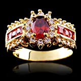 UOKOHO 2017 New Arrival Red Jewelry Red Zircon Rings for Women & Men Engagement Band 10KT Yellow Gold Filled Crystal Wedding Ring