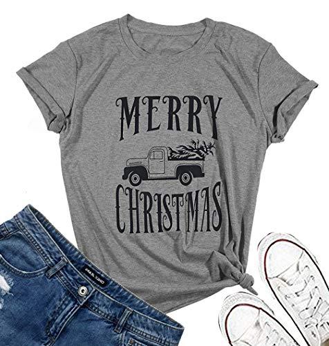 Christmas Shirt Sayings.Jinting Short Sleeve Merry Christmas Tee Shirts For Women Christmas Car Tree Graphic Shirts With Sayings