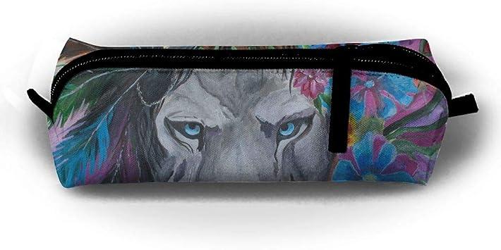 Watercolor - Estuche para lápices de león, diseño tribal, con cremallera, para niños, adolescentes y otros suministros escolares: Amazon.es: Oficina y papelería