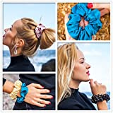 Mommesilk-Silk-Hair-Scrunchies-Set-of-5-Pieces-Ponytail-Holder-Elastic-Bobbles-Hair-Ties-Band-for-Women-Hair-Care-100-Silk-Random-Colors