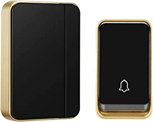 【No Battery Required】Wireless Doorbell Waterproof, AURTEC Door Chime Kit with 1 Receivers & 1 Press Self-powered Transmitter, 51 Chimes and 4 Volume Levels, Black