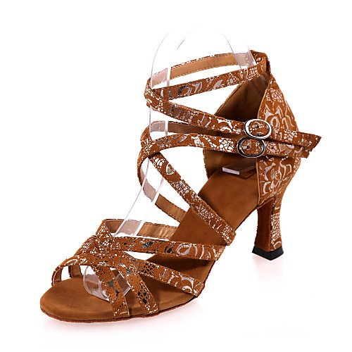 T.T-Q Damen Tanzschuhe Flocking Flared Heel Schwarz Braun Gold Latin Sandalen Salsa Jazz Tango Swing Praxis Indoor Performance  39|Gold