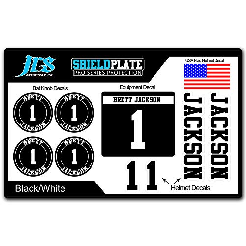 (JRS Decals Baseball Softball Player Bat Knob and Helmet Decal Kit - Complete ID Set with Name and Numbers (Black))