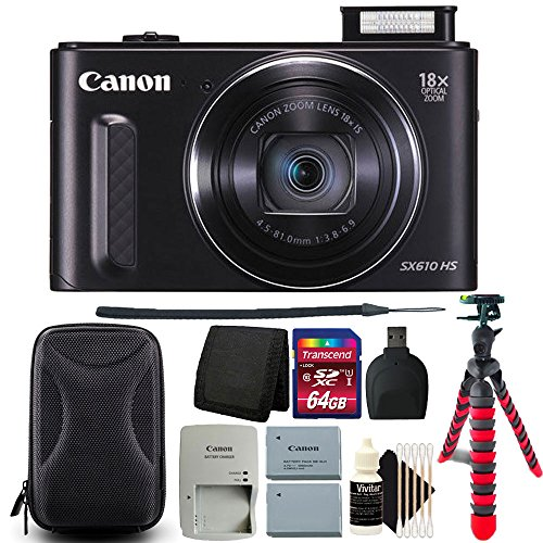 Canon PowerShot SX610 HS 20.2MP Wifi / NFC Enabled 18X Optical Zoom Point and Shoot Digital Camera with 2 Batteries and More Accessories