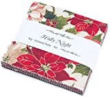 Moda Fabrics Holly Night Christmas Metallic Charm Pack 42 Fabric Squares