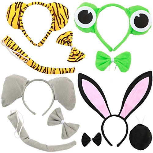 Cheap Animal Halloween Costumes (kilofly 4 Sets Kids Animal Ear Headband Bowtie Tail Cartoon Costume Party Favors)