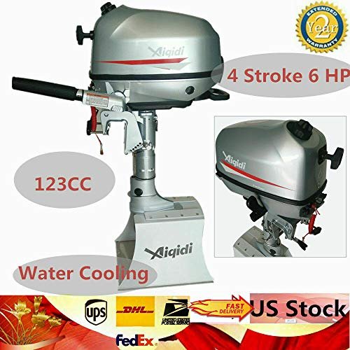 Outboard Engine Motor, 6-HP 4 Stroke Heavy Duty Motor Boat 123CC Water Cooling CDI System 16inch Tiller Short Shaft Control