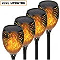 4-Pack QINOL LED Solar Outdoor Torch Light with Flickering Flame