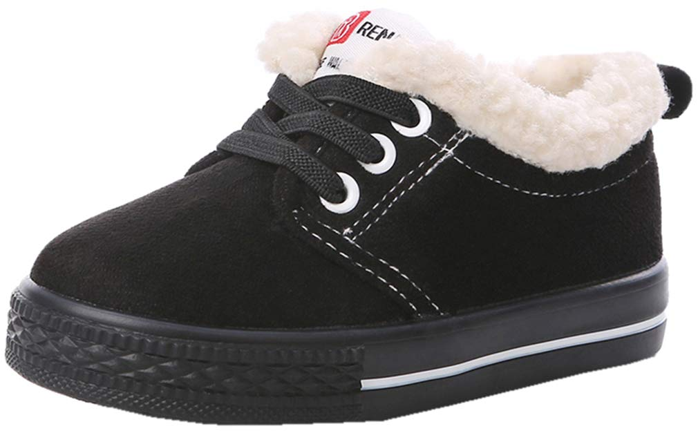 VECJUNIA Boy's Girl's Casual Thicken Flats Shoes Low Top Snow Boots (Black, 10 M US Toddler)