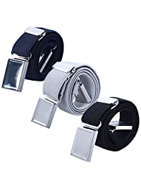 Boy Kids Magnetic Buckle Belt - Adjustable Elastic Child Belts for Girls, 3 Pieces(Navy blue/Gray/Black