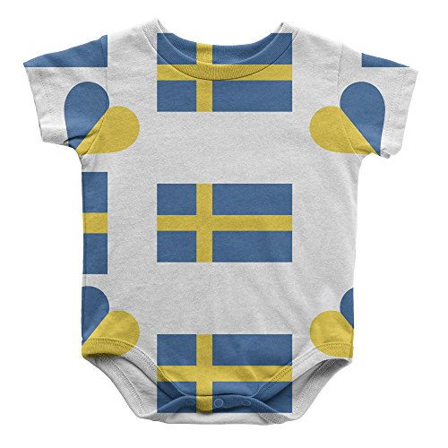 Sweden Country Flag Heart Infant One Piece Snapsuit Bodysuit 6 (Sweden Country Flag)